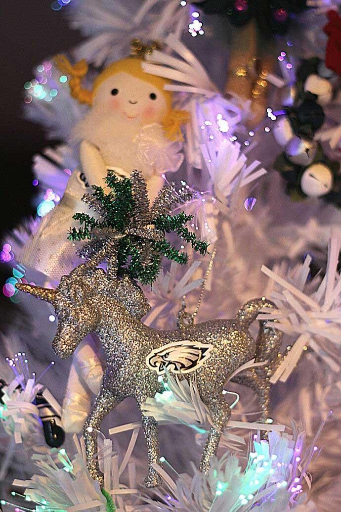 Blonde Philadelphia Eagles Cheerleader Ornament with Eagles Unicorn Christmas Ornament