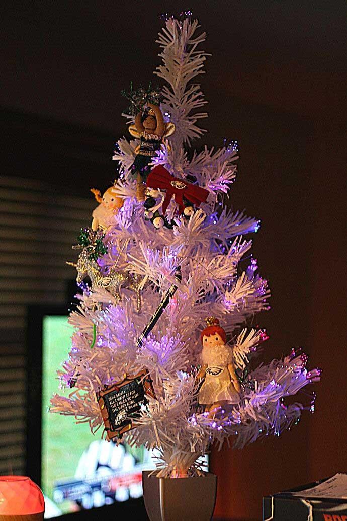 DIY Philadelphia Eagles Christmas Tree - White Fiber-Optic Tree with Eagles Ornaments