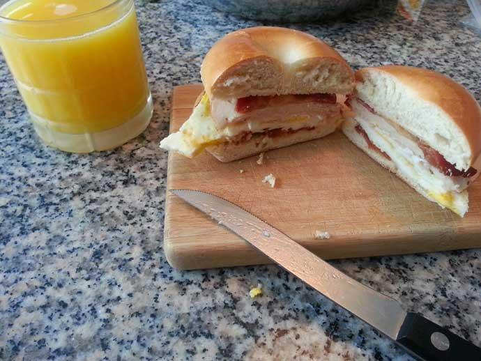 Breakfast Sandwich Meal Prep at Home - Bagel Breakfast Sandwich with Orange Juice
