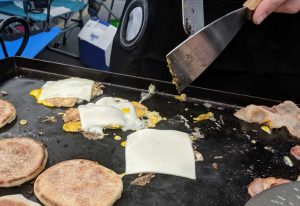 Cheese on Eggs Tailgate Breakfast Sandwiches