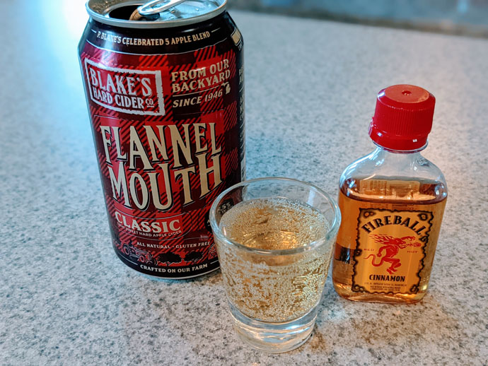 Spiced Hard Apple Cider Bomb Shot Featuring Blake's Hard Cider and Fireball Cinnamon Whiskey