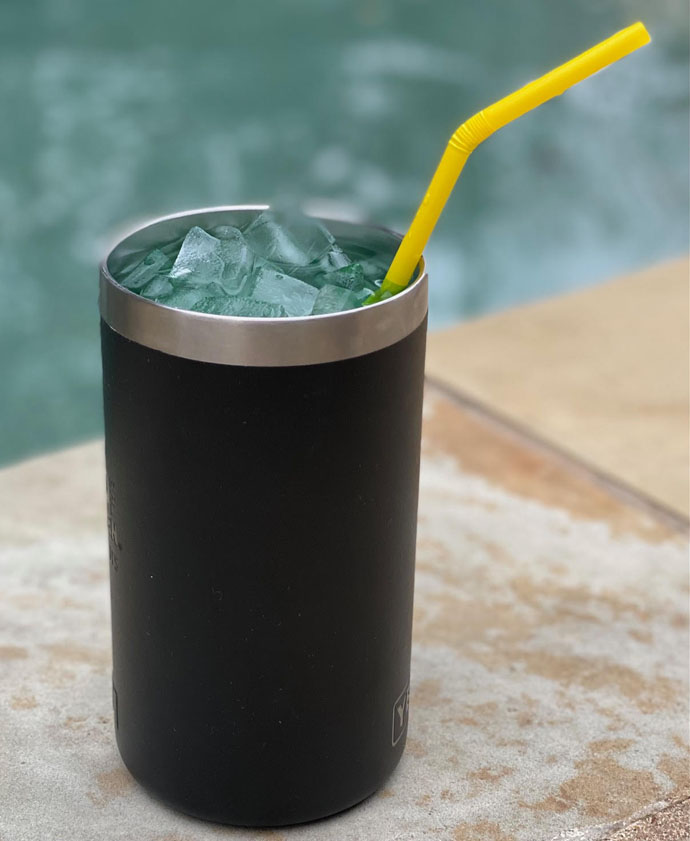 Ready Ritas in a Black Stainless Steel Yeti Tumbler with Straw