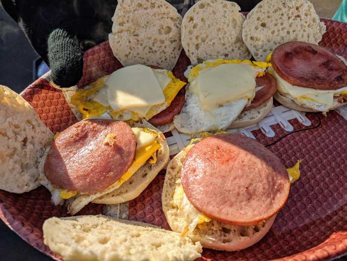 Breakfast Sandwich Meal Prep Guide - Tray of Breakfast Sandwiches at a Tailgating Party