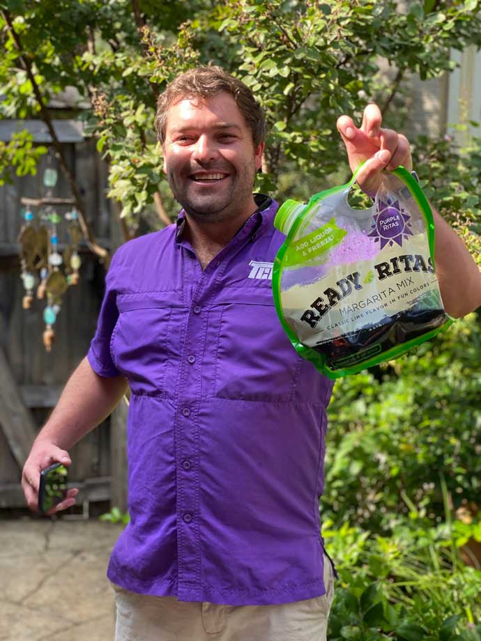 Colin from Ready Ritas showing off the awesome purple Ready Rita mix!