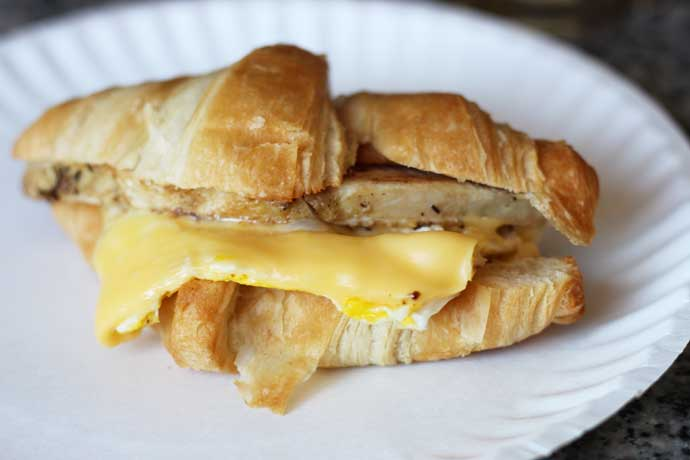 Turkey Egg and Cheese Breakfast Sandwich on a Croissant