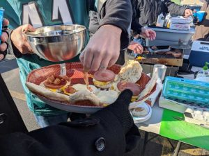 Tailgate Breakfast Sandwiches Meal Prep - Putting Bacon on top