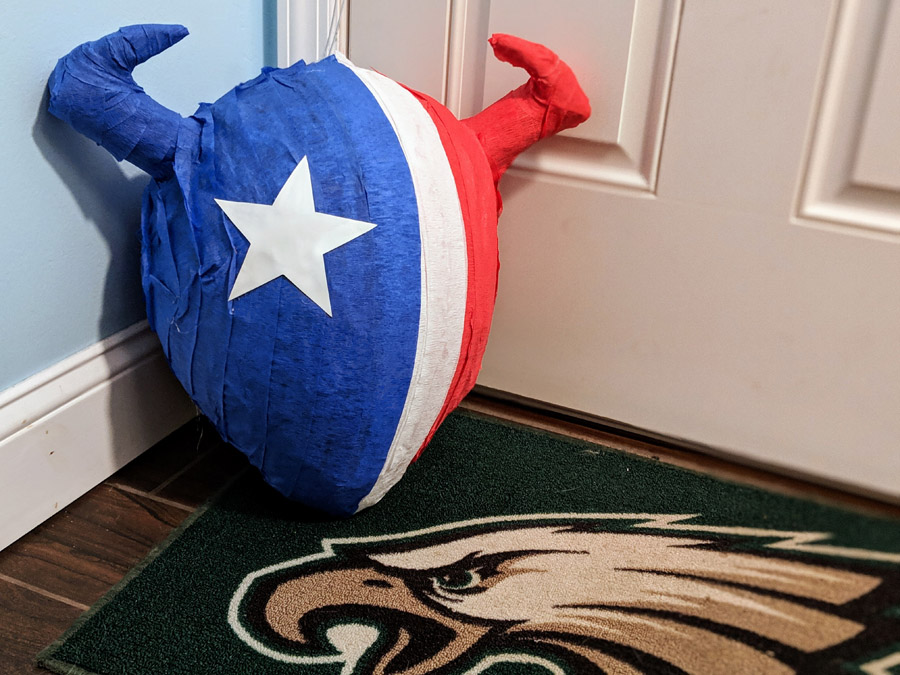 Houston Texans Pinata for Tailgating Parties - Red, White, and Blue Bull with Star
